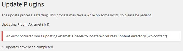Wordpress - Unable to locate Wordpress Plugin directory